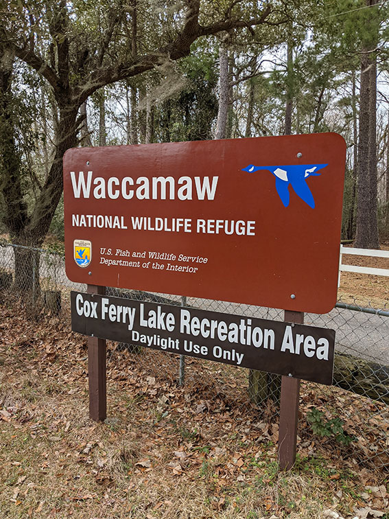 Waccamaw National Wildlife Refuge sign